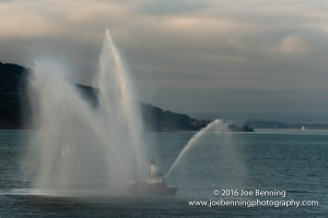 Fireboat testing its firehoses in San FRancisco Bay