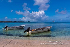 Boats anchored in the shallow water of the beach,Yasawa-i-Rara, Fiji