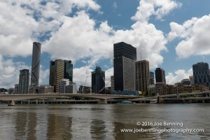 Brisbane skyline shot from a boat on the Brisbane River