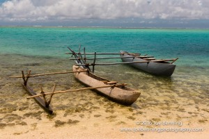 Canoes on shore in the South Pacific