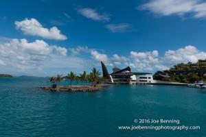 Entering the harbor by the Hamilton Island Yacht Club