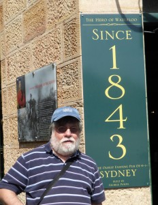 Joe in front of Sydney's Oldest Pub, in the Rocks