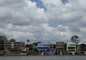 Some of Brisbane's homes along the river, many with docks and boathouses.