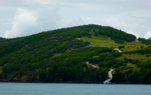 The golf course on Dent Island - a bit hilly, non?