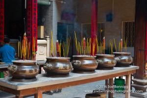 Photo of burning incense in a Buddhist Temple in Saigon, Viet Nam