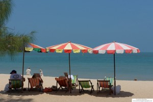 Long Chairs on the beach in a Penang resort