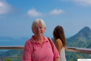 Mary Anne at the Top of Gunung Mat Chinchang after trip on the Langkawi Cable Car