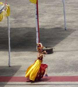 Balinese dancer at the pier in Benoa.