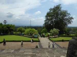 at the base of Borobudur; note the speakers high on the left, available for the call to prayer