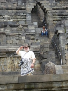 Joe saluting from a low level of the temple; you can see the narrative relief in the sones behind him; hopefully you can get a sense of the steps as you look to the right.