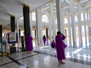 pavilion at the national mosque; visitors can borrow lavender burkas and black headscarves if they wish to visit the mosque (without shoes)