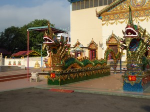 front of the Thai Buddhist temple in Penang