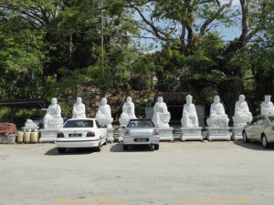 just a few of the parking lot Buddhas at Kek Lok Si Temple (looks like a baby Buddha on the far left)