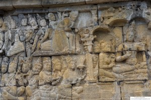 A sample of the panels of artwork that cover the exterior of Borobudur Temple.