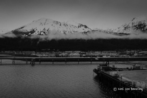 Foggy Seward Port in Black and White