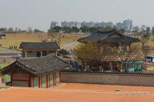 Hwaseong Fortress overlooking the city