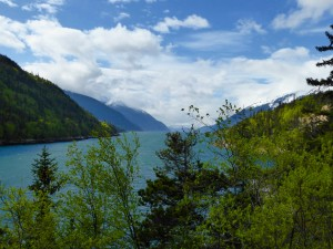 a fjord in Skagway, with a nice glacier in the background