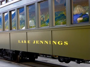 "White Pass and Yukon Railway car in Skagway named ""Lake Jennings!"""