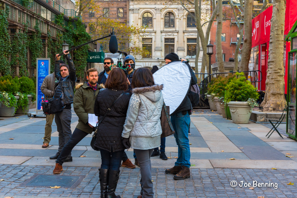 A photo shoot in Bryant Park